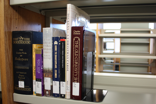Charles Dickens and William Shakespeare are some of the few classics that stand on the Mission Campus Library shelves. CLIVE WALKER / GUARDSMAN