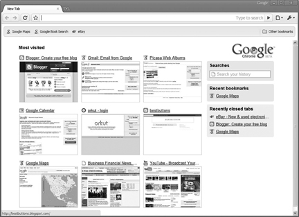 The start page for Google Chrome doesn't start blank but includes your most visited Web sites, recent bookmarks and recently closed tabs. The grid format is similar to Opera's speed dial feature. IMAGE COURTESY OF GOOGLE