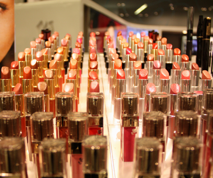 An assorment of lipstick sits on display at Bloomingdales in downtown San Francisco. CLIVE WALKER / GUARDSMAN