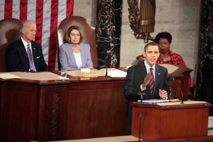 President Barack Obama gives his State of the Union address to Congress on Capitol Hill, Wednesday, January 27, 2010 in Washington, D.C. (Robert Giroux/MCT)