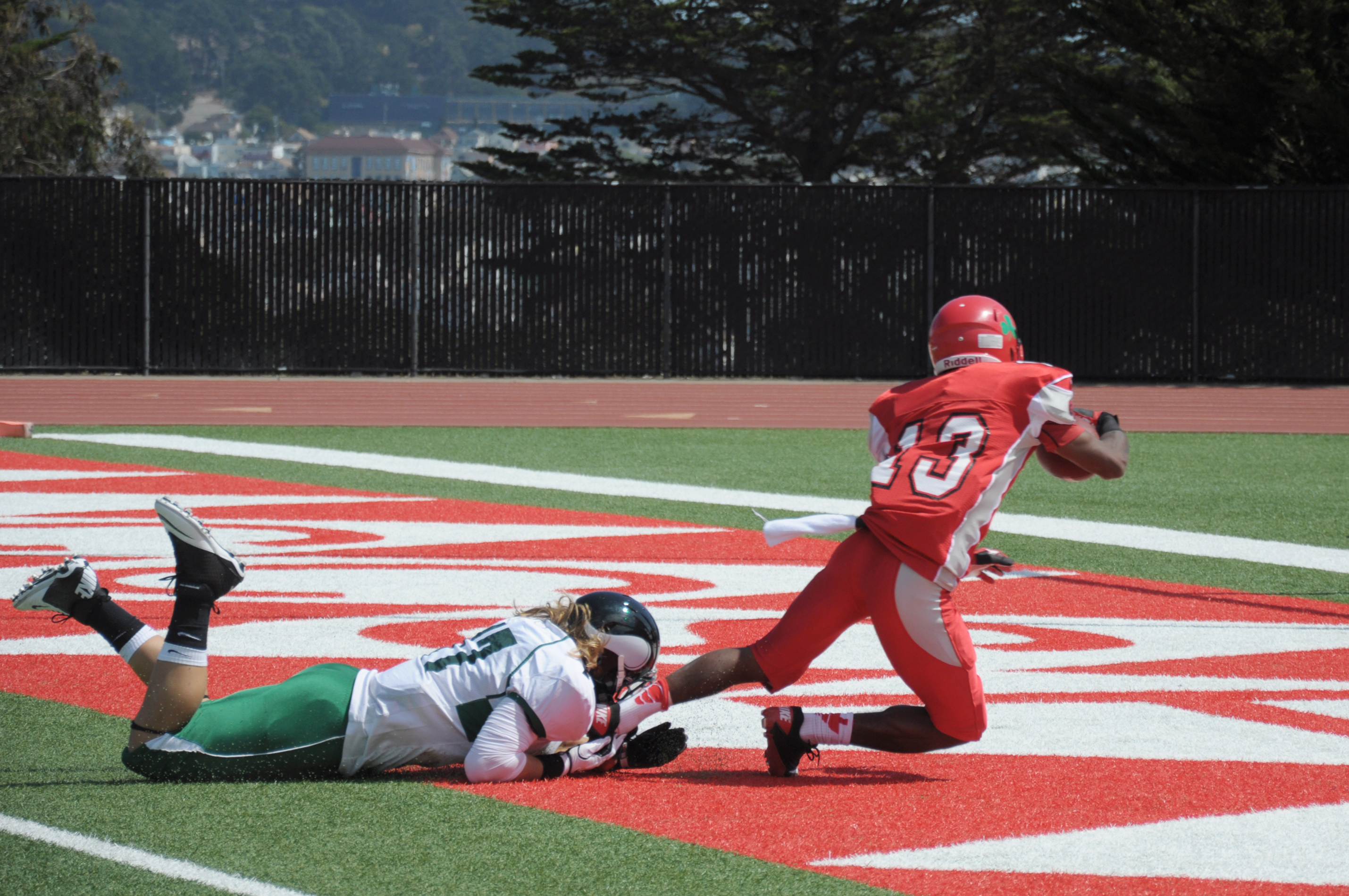 Dezmond Epps, wide receiver, earns a touchdown for the Rams during their football season opener held at Ocean Campus' Ram stadium on Saturday, September 1, 2012. Photo by Shane Menez/The Guardsman