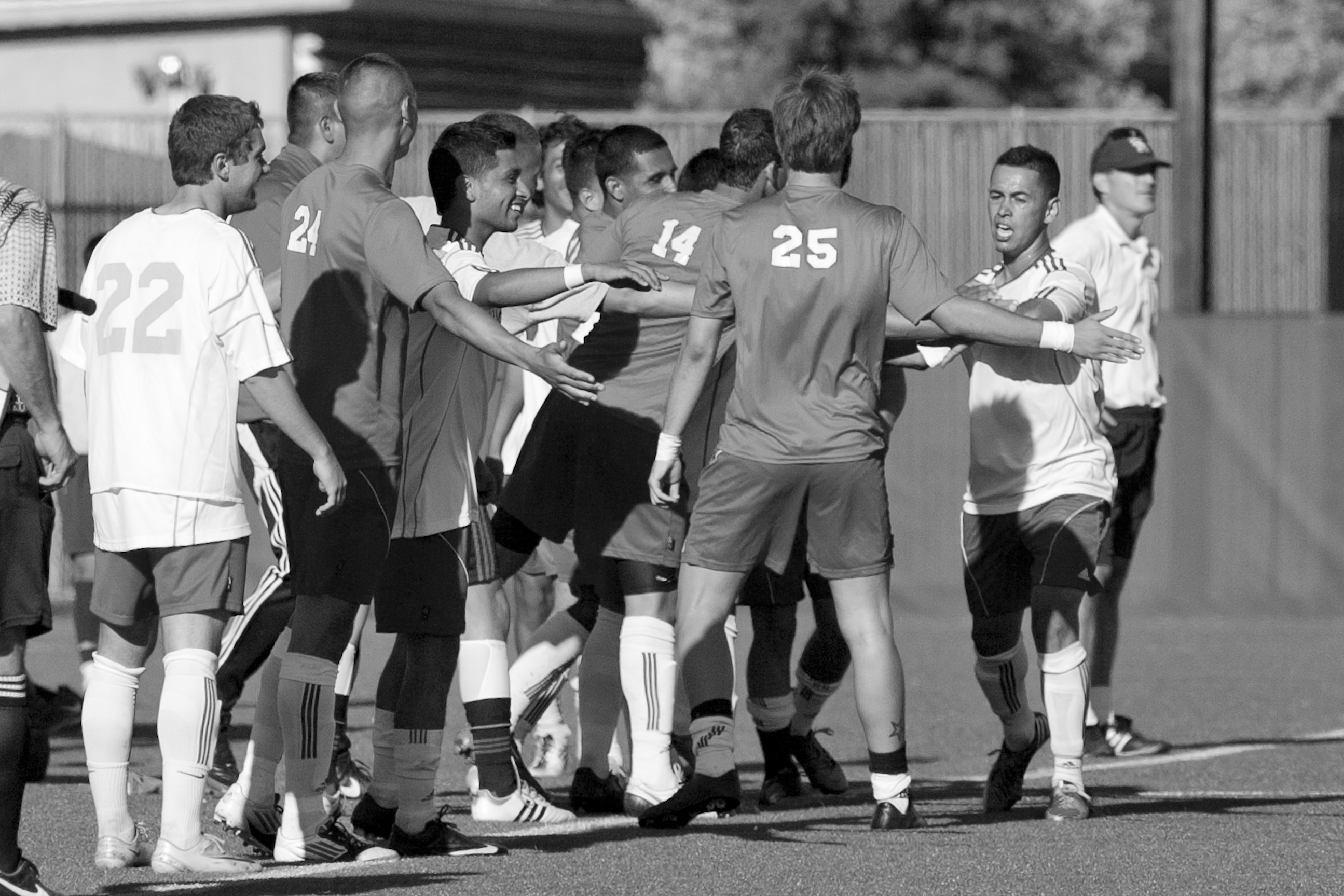 Sophomore Forward Arnulfo Garcia, on right, is greeted by fellow teammates after scoring the second goal for City College during an away game versus the Santa Rosa JC on Friday Sept. 14, 2012. Photo by James Fanucchi/The Guardsman