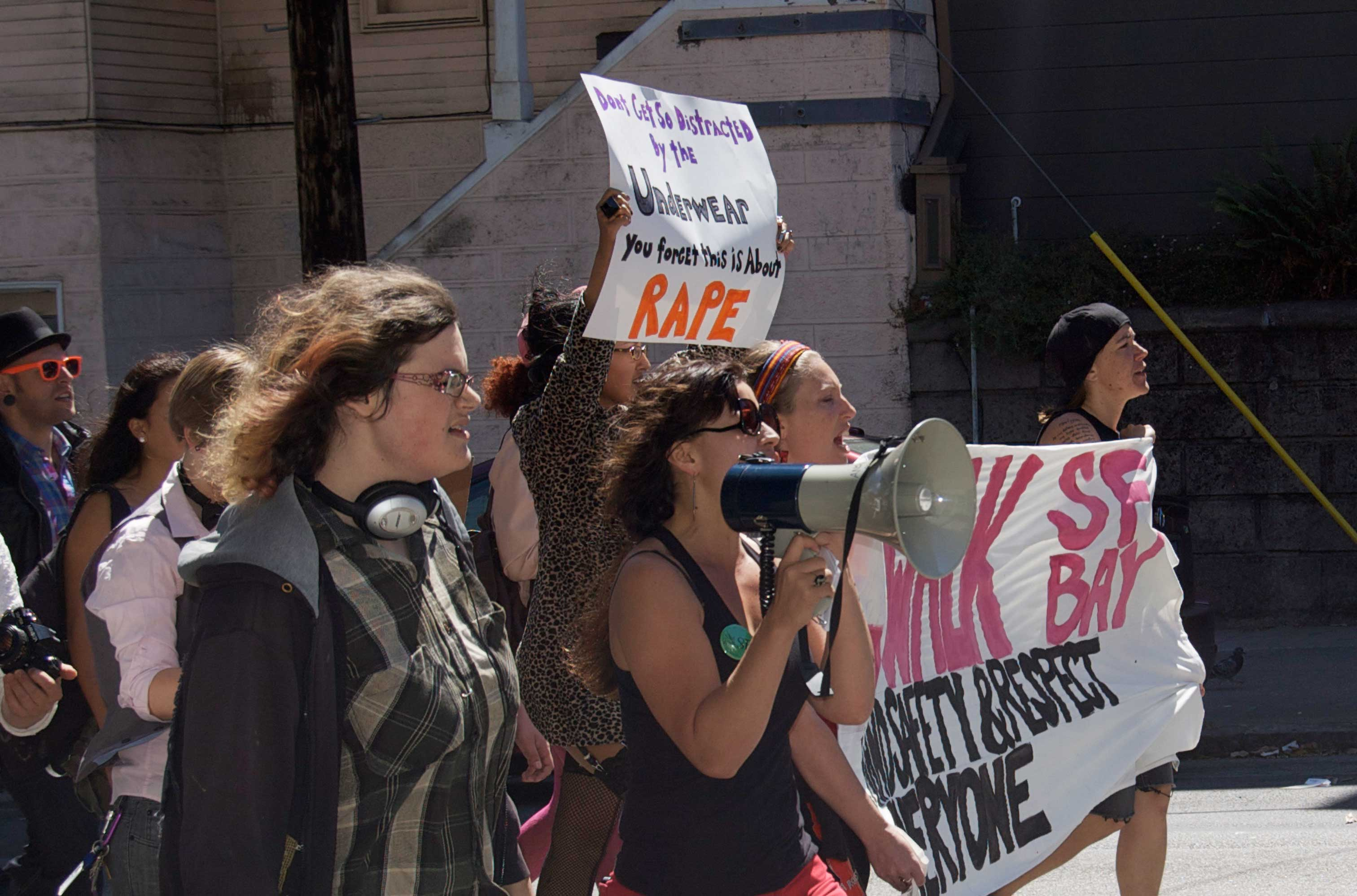 Supporters and organizers of the second annual SlutWalk march and chant on Sanchez street in San Francisco on Sept. 8, 2012. Photo by Francesca Alati/The Guardsman