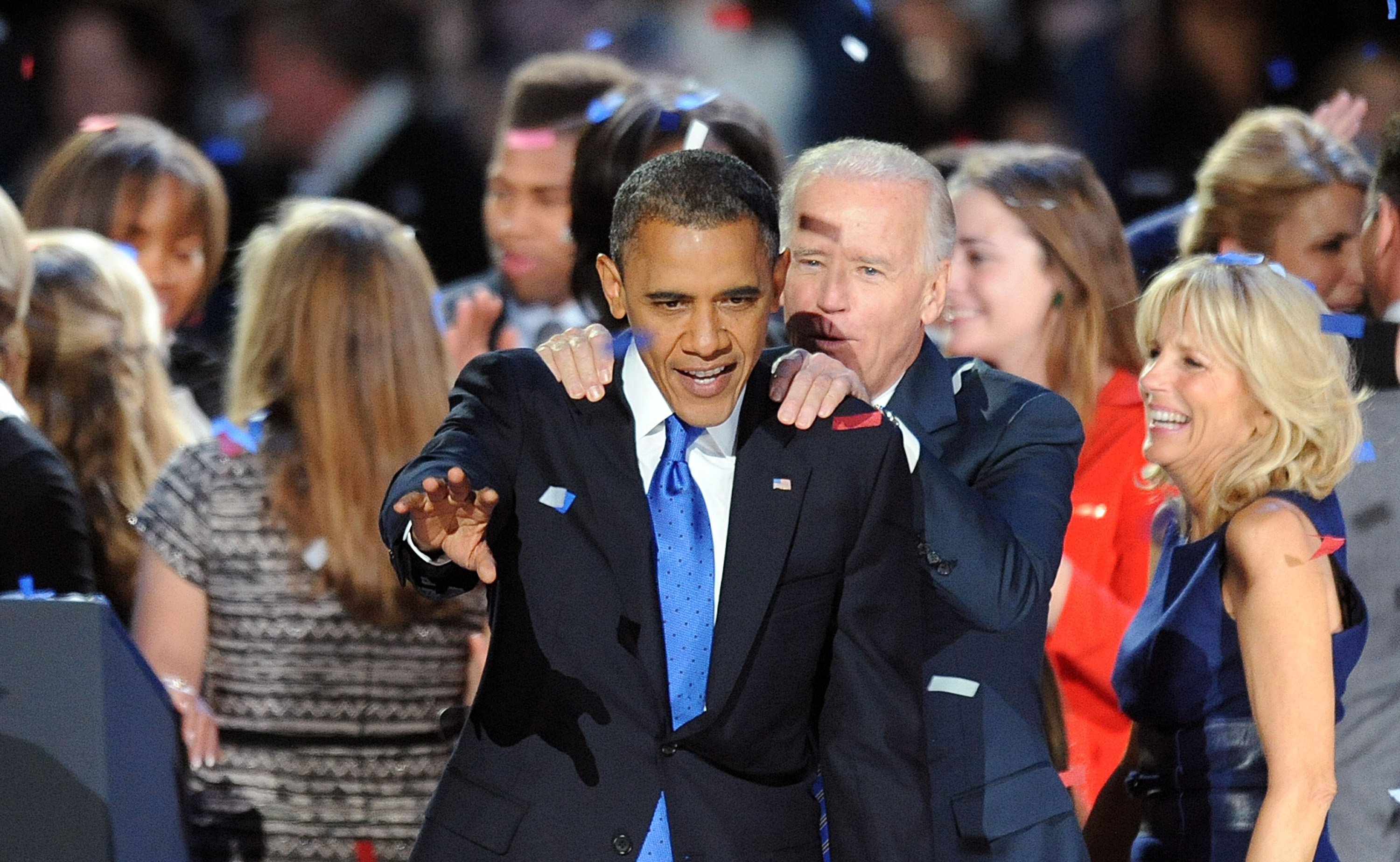 Vice President Joe Biden congratulates U.S. President Barack Obama on stage Tuesday, November 6, 2012, in Chicago, Illinois, after the president was re-elected. (Olivier Douliery/Abaca Press/MCT)