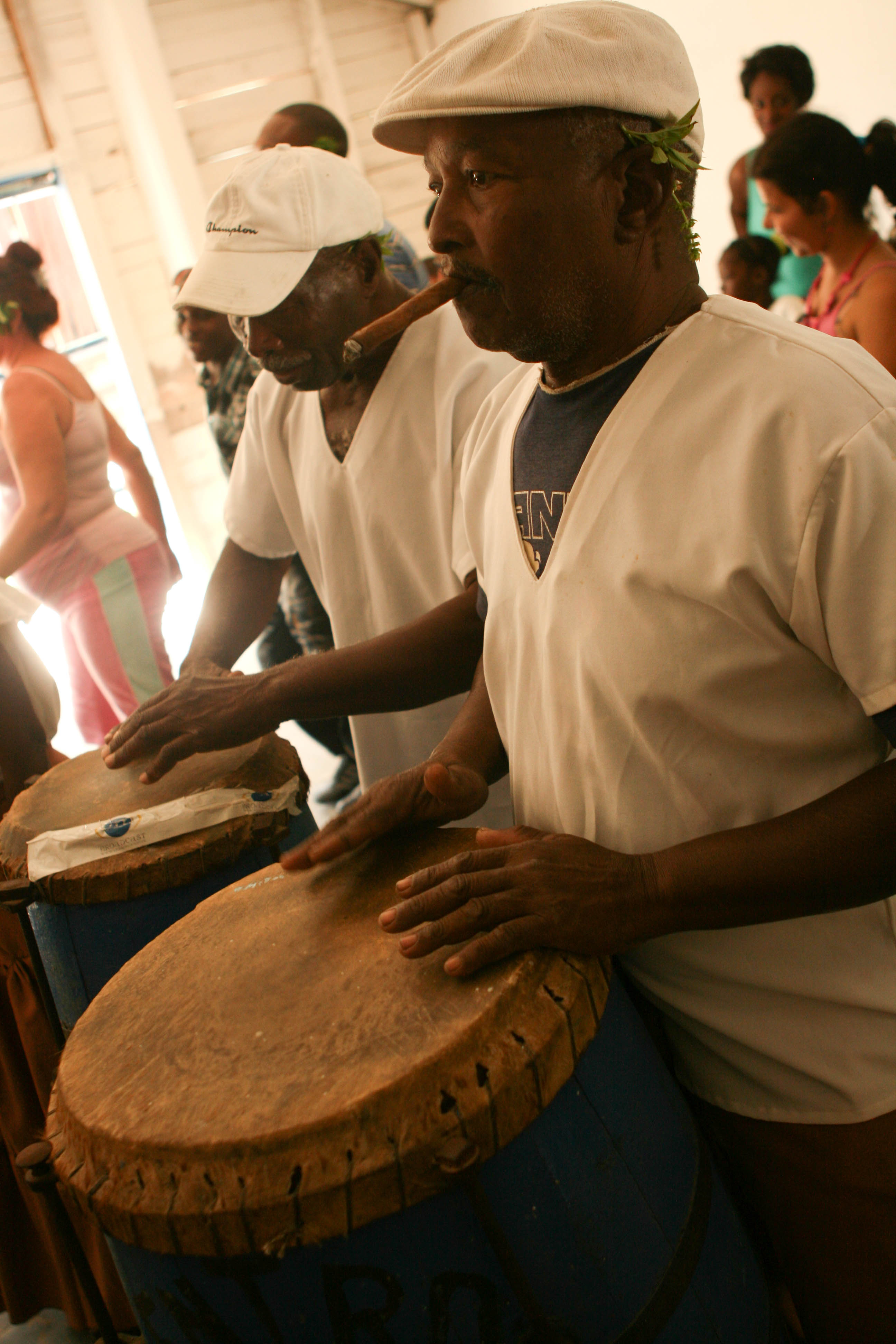 Drummers at the Casino Congo play congos during a Palo Monte ceremony in Lajas, Cuba. Lajas, Cuba. January 4th, 2013 (Photo by Matt Lambert)