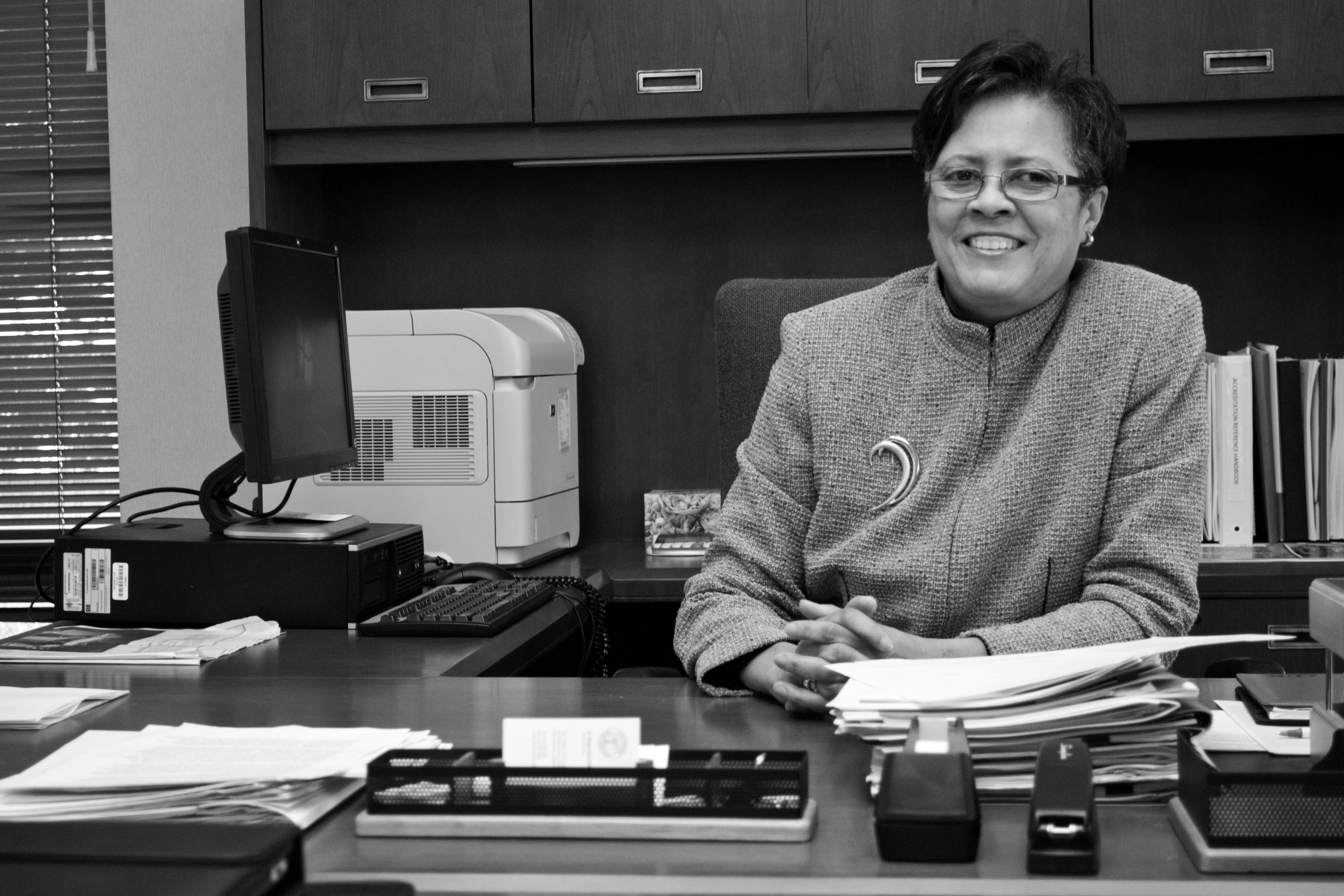 Interim-Chancellor Thelma Scott-Skillman on Feb. 7, 2013 in her office on Ocean campus. Photo by Sara Bloomberg/The Guardsman