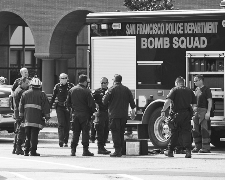 The San Francisco Police Department's Bomb Squad and Firefighters are called in to Archbishop Riordan High School after a report of a suspicious bag that was located inside a bathroom on Feb. 2, 2013. Photo by Santiago Mejia / The Guardsman.