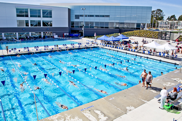City College participates with 8 other community colleges in a swim meet held at the College of San Mateo on March 1, 2013. Photo by Juan Pardo / The Guardsman.