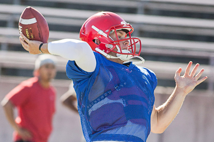 Rams quarterback Turner Baty looks to pass during practice on Friday, Aug. 30, 2013, at Ocean campus. Photo by Santiago Mejia/The Guardsman