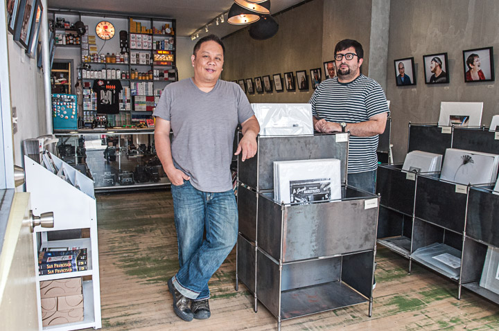 Matt Osborne, 39, right, the owner of Glass Key Photo, and Gordon Szeto, 44, left, the owner of 4x5 Gallery at the space on Haight Street where the 4x5 Gallery and Glass Key Photo join the business together in one location. San Francisco, California. September 11, 2013. Photo by Ekevara Kitpowsong/The Guardsman