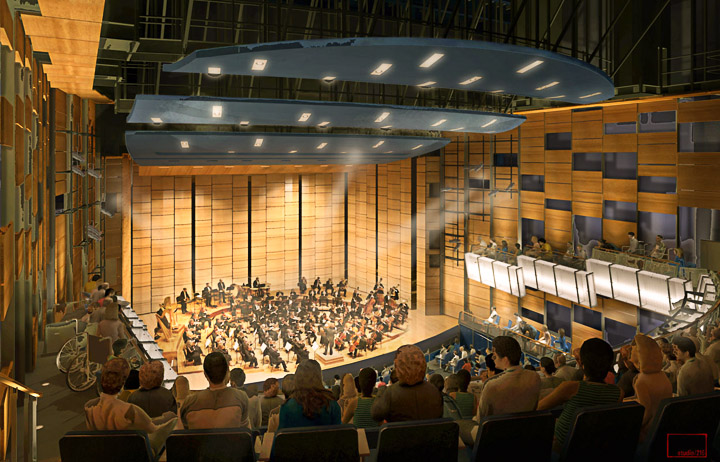 Design of the 600 seat theater located inside of the proposed CCSF performance arts bulding.