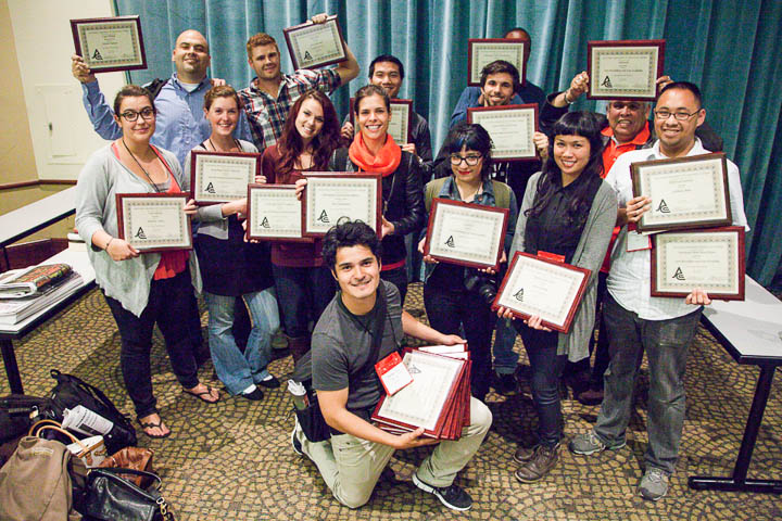 City College Journalism students show off their awards at the Journalism Association of Community Colleges' Northern California conference on Sept. 21, 2013. Photo by Jessica Lifland.