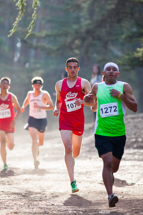 City runner Christian Ferrey (center) participates in the SF State cross country invitational at Golden Gate Park on Friday Oct. 11, 2013. Photo by Juan Pardo/The Guardsman