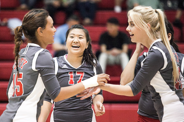 City College of San Francisco Rams defensive specialist Karen Yip (17) reacts after the Rams score a point during a women's volleyball game against the San Jose City College Gladiators on Ocean campus Oct. 16, 2013.. Photo by Santiago Mejia/The Guardsman