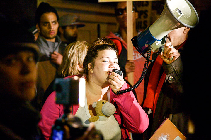 Selena, sister of Orlando Rodriguez, speaks to the crowd during the protest that took place outside the Mission Police Station Nov. 19. Juan Pardo/The Guardsman