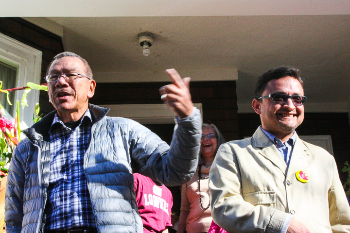 Norman Yee ,left, City Supervisor and former ESL instructor at City College, said to a crowd of City College supporters the school's key role for immigrant students to get their U.S. Citizenship. Photo by Bridgid Skiba/The Guardsman