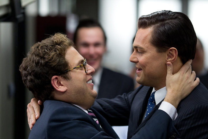 """Dec. 25: Stock-market shenanigans: Left to right: Jonah Hill plays Danny and Leonardo DiCaprio plays Jordan Belfort in Martin Scorsese's """"The Wolf of Wall Street."""" (Courtesy Mary Cybulski/MCT)"""