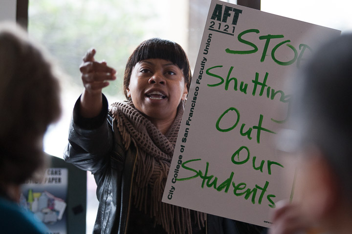 City College Student Trustee Shanell Williams gestures while speaking at a rally on Wednesday, Jan. 29, 2014, at Conlan Hall. Protesters opposed class cancellations before the add/drop deadline. Photo by Santiago Mejia/The Guardsman