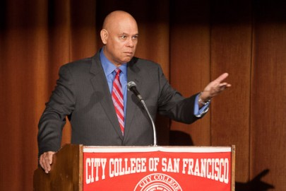 City College Chancellor Arthur Tyler replies to questions from faculty and staff during a meeting at Diego Rivera Theatre on flex day on Thursday, Feb. 6, 2014 at Ocean campus. Photo by Santiago Mejia/The Guardsman