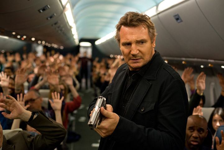 "Liam Neeson plays U.S. Air Marshall Bill Marks in the new film ""Non-Stop."" Courtesy of Myles Aronowitz/Universal Pictures"