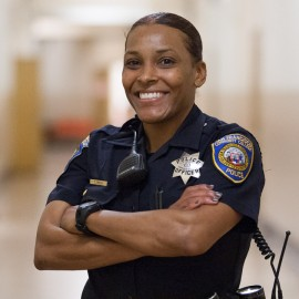 Officer Green poses for a portrait at Ocean campus, Thursday, Feb. 27, 2014 . Photo by Santiago Mejia/The Guardsman