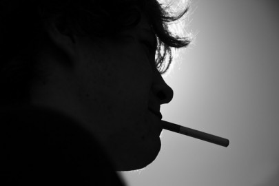 A silhouette of an e-cig smoker, Wednesday, Feb. 19, 2014, at Ocean campus. Photo by Elisa Parrino/The Guardsman