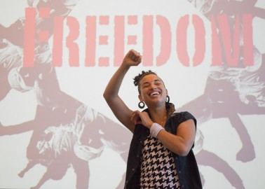 Naima Penniman of Climbing Poetree performs spoken word on Tuesday, March 11, 2014, during an Ocean campus Women's Day event. Photo by Elisa Parrino/The Guardsman