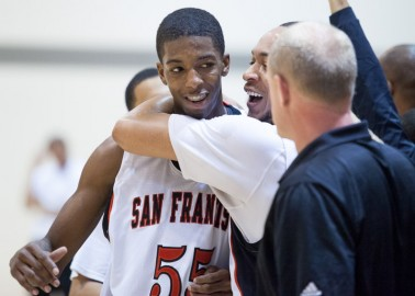 In this March 9, 2013, file photo - Delon Wright (left) is congratulated by his teammate following a basketball win against Santa Rosa College. The Rams won the match 88-54 and remain undefeated with 31 wins. Photo by Santiago Mejia/The Guardsman