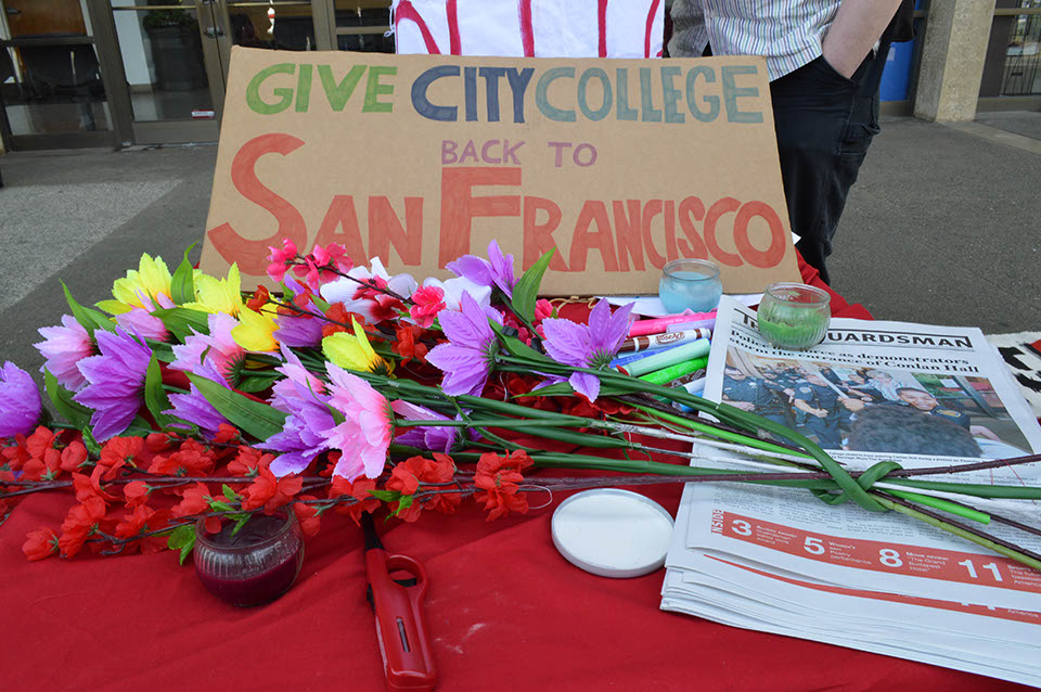 The Save CCSF Coalition held a vigil on Thursday, March 20, 2014, in reaction to alleged police brutality at a City College protest. Photo by Bridgid Skiba/The Guardsman