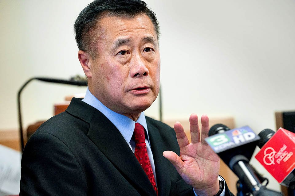State Sen. Leland Yee (D- San Francisco) has been charged with public corruption as part of a major FBI operation spanning the Bay Area, law-enforcement sources said, casting yet another cloud of corruption over the Democratic establishment in the Legislature and torpedoing Yee's aspirations for statewide office.ÊHere, Yee speaks to members of the press in Sacramento, Calif., in this Feb. 14, 2013, file photo. (Randall Benton/Sacramento Bee/MCT)