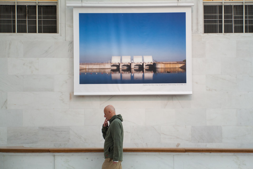 Charlotte Niel's landscapes are shown in City Hall's North Light Court.