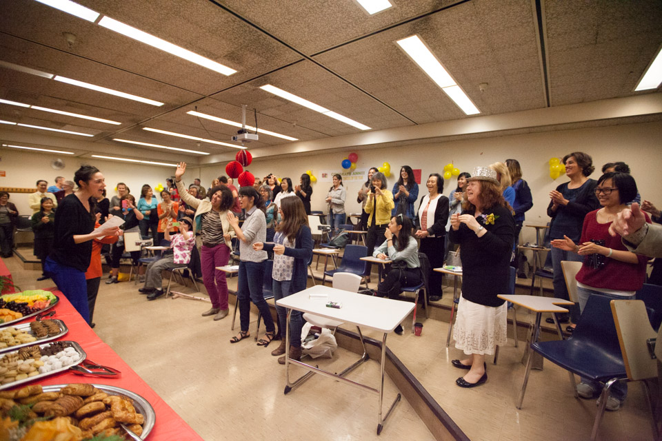 Students and colleagues honor Ann Fontanella at the reception celebrating her award as Teacher of the Year by Teachers of English to Speakers of Other Languages, Inc (TESOL) on Tuesday, May 6, 2014 at the City College's downtown campus. Photo Nathaniel Y. Downes