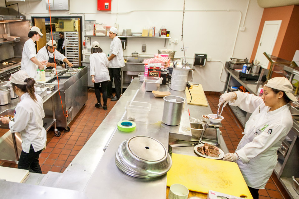 Culinary Arts and Hospitality Studies students prepare for the grand opening of the new Ocean campus restaurant Radius 99 on Wednesday, Aug. 27, 2014 at City College.  The menu features food procured from vendors no further than 100 miles from campus. (Photo by Nathaniel Y. Downes)