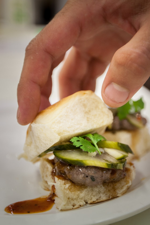 Beef Bulgogi Sliders with Korean BBQ sauce and pickled cucumber relish is one of the items on the menu for the grand opening of the new student run restaurant at Smith Hall, Radius 99 on Wednesday, Aug. 27, 2014. (Photo by Nathaniel Y. Downes)