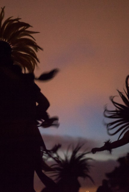Aztec dancers mark the 5-month anniversary of the death of Alex Nieto  with a ceremony of prayers, music and dance at sunrise at the Alex Nieto Memorial, Bernal Heights Park in San Francisco on Aug. 22, 2014. (Photo by Nathaniel Y. Downes)