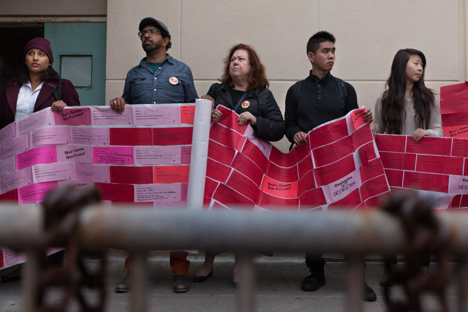 Students, faculty and supporters delivery 3,000 messages to Susan Lamb, Vice Chancellor of Academic Affairs, appealing class closures due to low enrollment at City College on Monday, Aug. 22, 2014.  88 classes were cancelled affecting 370 students. (Photo by Nathaniel Y. Downes)