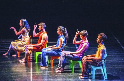(L-R) Nick Brentley, Courtney Moreno, Peiling Kao, Chad Dawson and Chinchin Hsu form a diagonal line on the stage (Photo by Elisa Parrino)