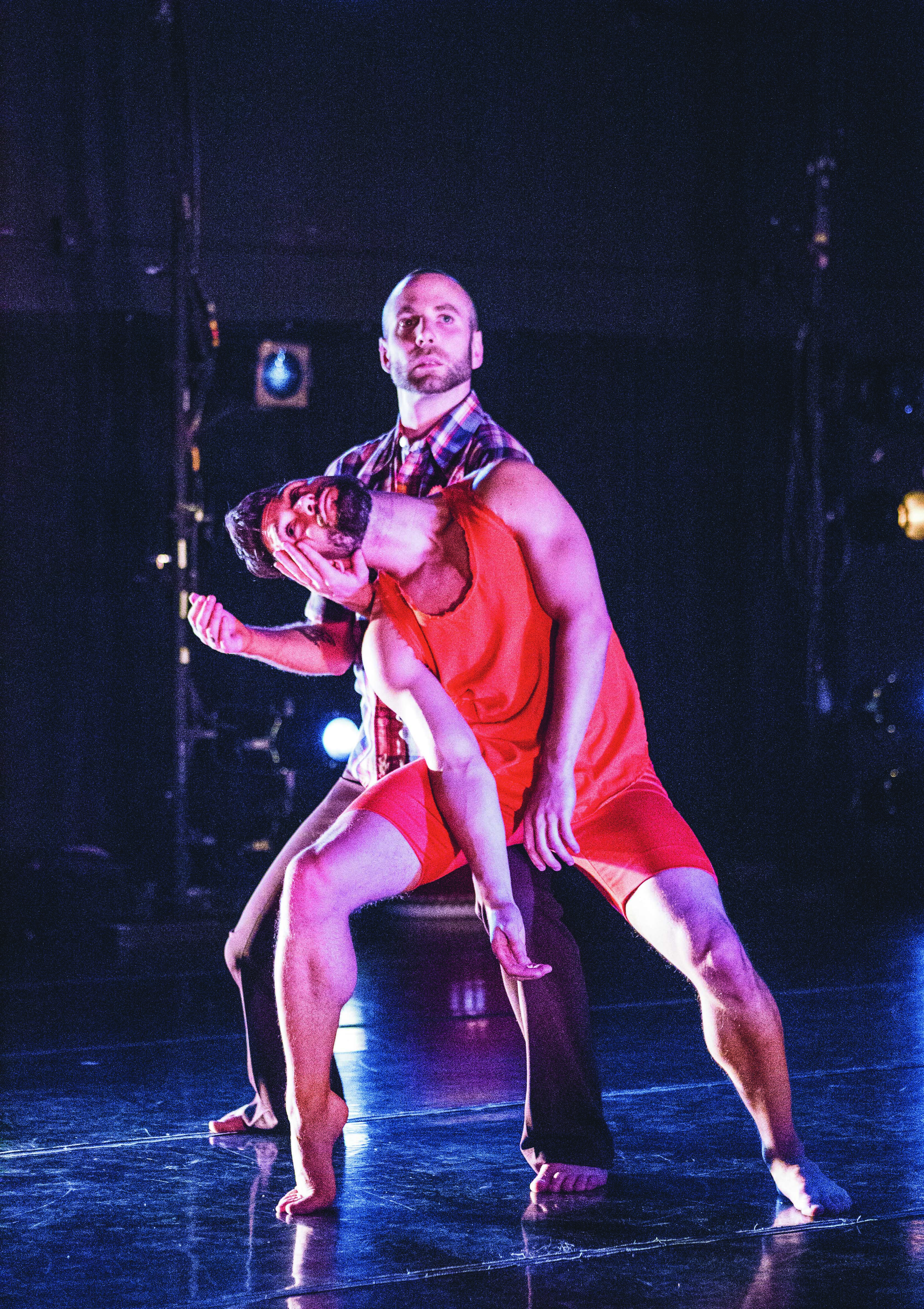 (L-R) Chad Dawson and Nol Simonse dance a duet where they bounce each other away. (Photo by Elisa Parrino)
