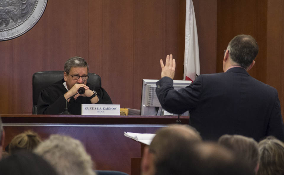 Judge Curtis Karnow listens intensely to testimony during a preliminary hearing on Sept. 10 regarding a lawsuit that challenges the ACCJC's decision to revoke City College's accreditation. (Photo by Khaled Sayed)
