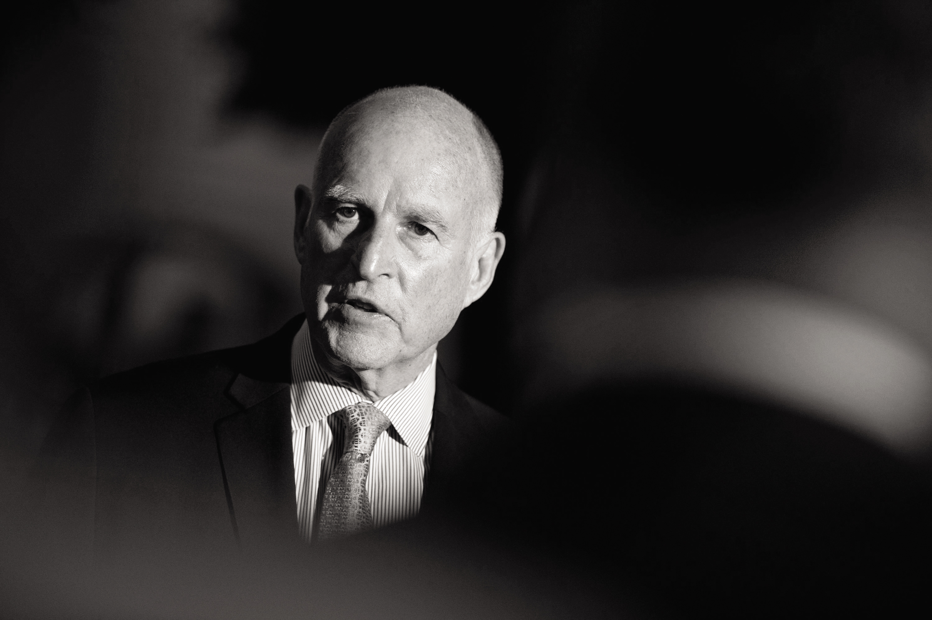 Gov. Jerry Brown talks to reporters outside the Old Governors Mansion on election night in Sacramento, Calif., Tuesday, June 3, 2014. (Jose Luis Villegas/Sacramento Bee/MCT)