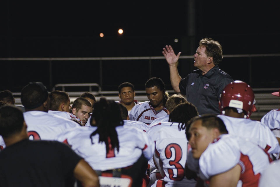 "Rams Head Coach George Rush scolds the Rams for ""playing sloppy football."" (Photo by Yesica Prado/ Contributor)"