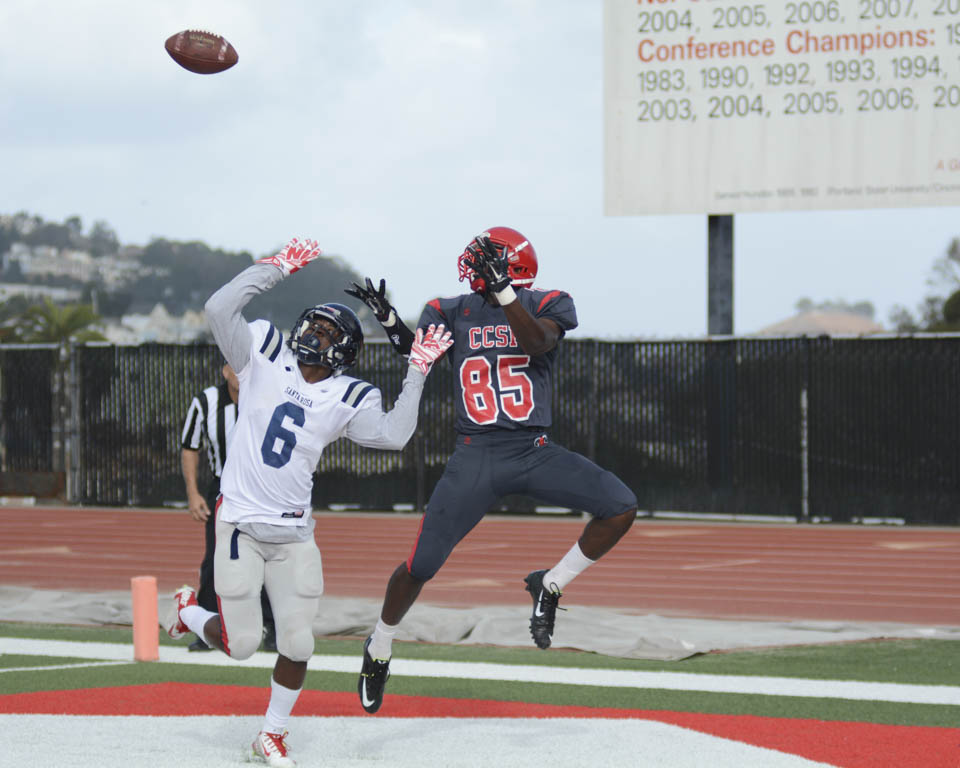 Rams receiver Jermaine Berry (85) leaps for the football, Oct. 25, against Santa Rosa Junior College. (Photo by Niko Plagikis)