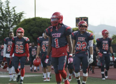 The CCSF Rams football team takes to the field after halftime at Saturday afternoon's home game against Santa Rosa Junior Collage on October 25th. Photo By: Niko Plagakis