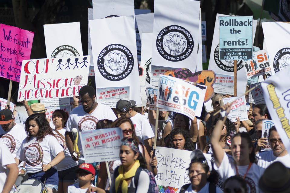 Demonstrators, in support of Prop. G on the ballots in the upcoming elections, march to 16th and Mission Street in San Francisco, Calif., on Saturday, Oct. 4,  to stop the unfair  evictions. (Photo by NIko Plagakis)