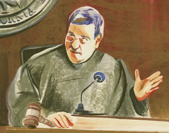 Superior Court Judge Curtis Karnow deliberates during a Sept. 9 hearing. (Illustration by Olivia Wise/ Contributor)