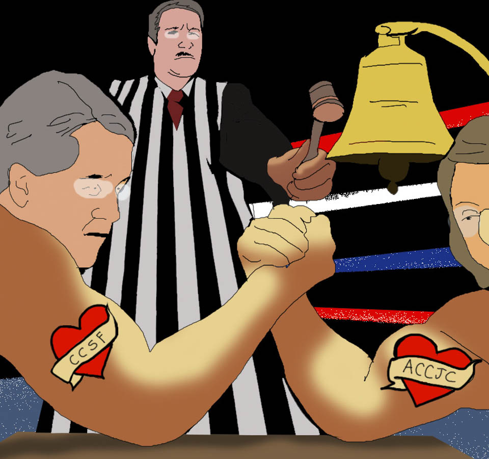 City Attorney Dennis Herrera (left)arm wrestles ACCJC President Barbara Beno as Judge Curtis Karnow officiate. (Illustration by Olivia Wise)