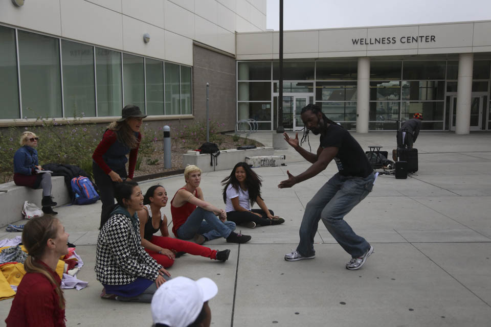 Dancer Antoine Hunter, right, practices strong body language in front of the Trolley Dancers cast, Friday, Oct. 10, at Ocean Campus. (Photo by Natasha Dangond)