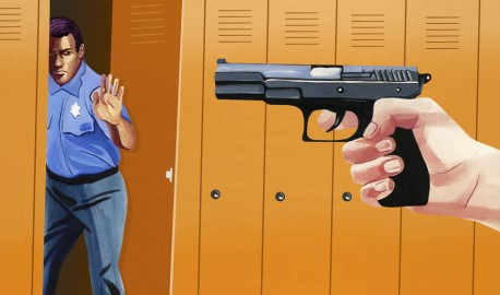 A shooter on campus points a gun at an unarmed officer. ( Illustration by Olivia Wise)