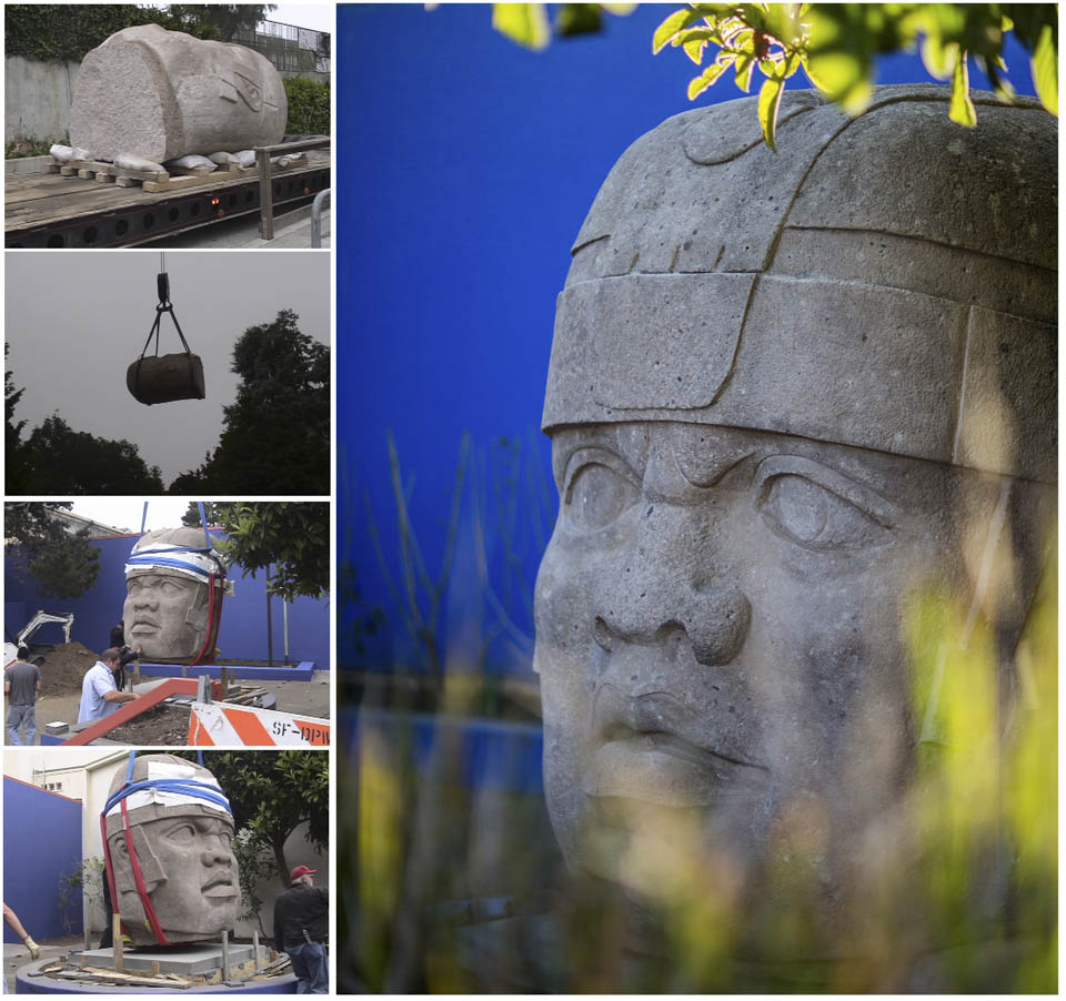 "(L-R) Installation of ""El Rey"" statue in 2004. (Photo by Will Maynez) and in its final resting places in the Frida Kahlo Garden next t Diego Rivera Theatre. Oct. 27, 2014.  (Photo by Nathaniel Y. Downes)"