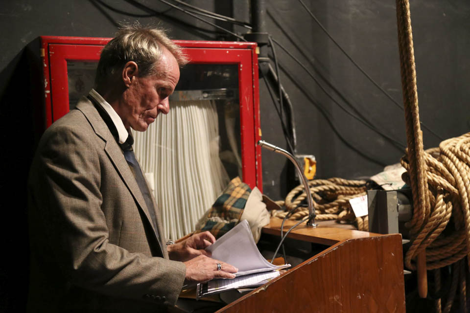 Jeff Gustavson reviews his lines before the dress rehearsal of  'This is Heaven' on Nov. 5.